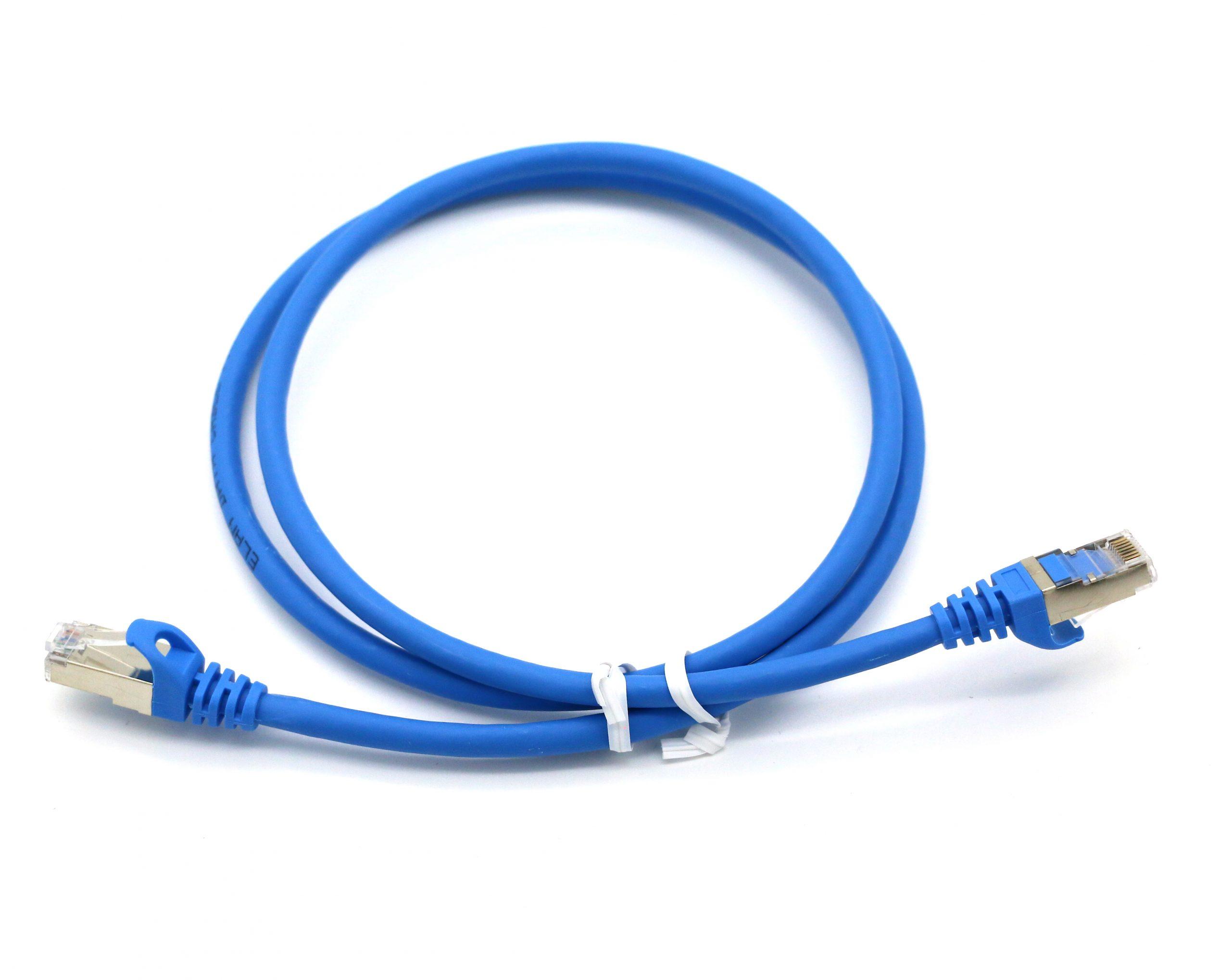 eLan Category 6A S/FTP patch cord blue RJ45, 1m